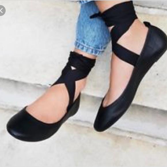 Black Tie Up Ballerina Flats | Poshmark